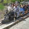 Portola Valley & Alpine Railroad Hosts Dartmouth Day 04/26/14 : Founded in 1979, the Portola Valley & Alpine Railroad (PV&AR) is a 7.5-inch gauge, live steam railroad located on the Pony Tracks Ranch—the private estate of Silicon Valley legend Jacques Littlefield—in Portola Valley. Because of it location on private land, the railroad is not open to the public. The RV&A Railroad includes 1.2 miles (9.6 scale miles) of mainline with many sidings and one expansive rail yard. The facilities include nine steaming bays, a hydraulic lift, two engine houses, and a turntable. Most mainline switches are motorized with spring points. There are numerous water sources amongst the trees, shrubs and flowers.